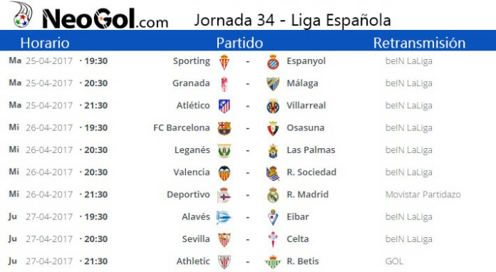 Jornada 34 Liga Española 2017