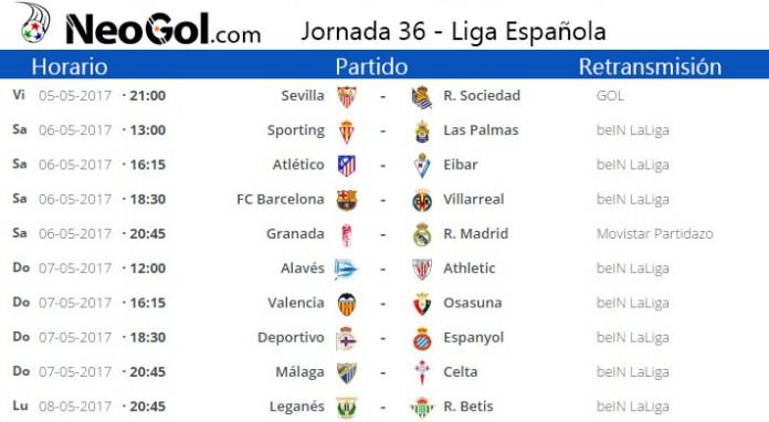 Jornada 36 Liga Española 2017
