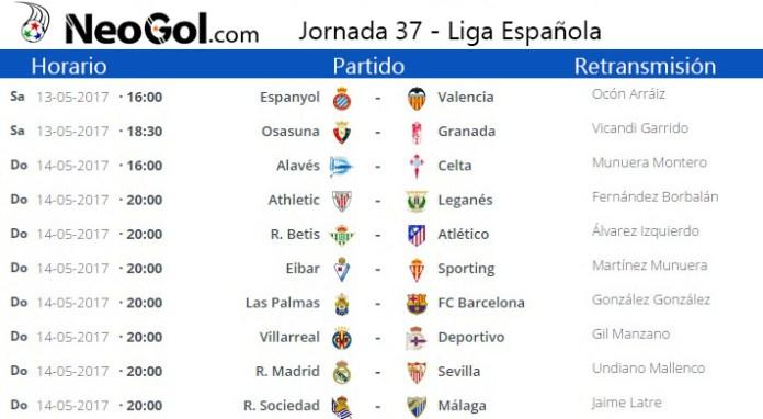 Jornada 37 Liga Española 2017