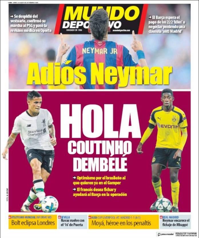 Neymar Ficha por el PSG portada mundo deportivo