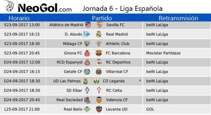 Jornada 6 Liga Española 2017