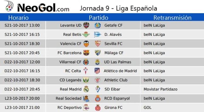 Jornada 9 Liga Española 2017