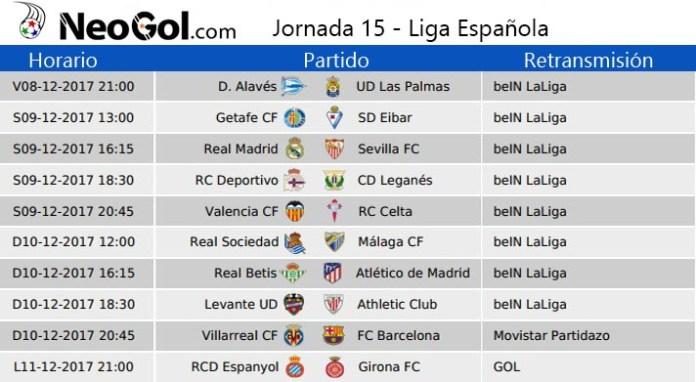 Jornada 15 Liga Española 2017