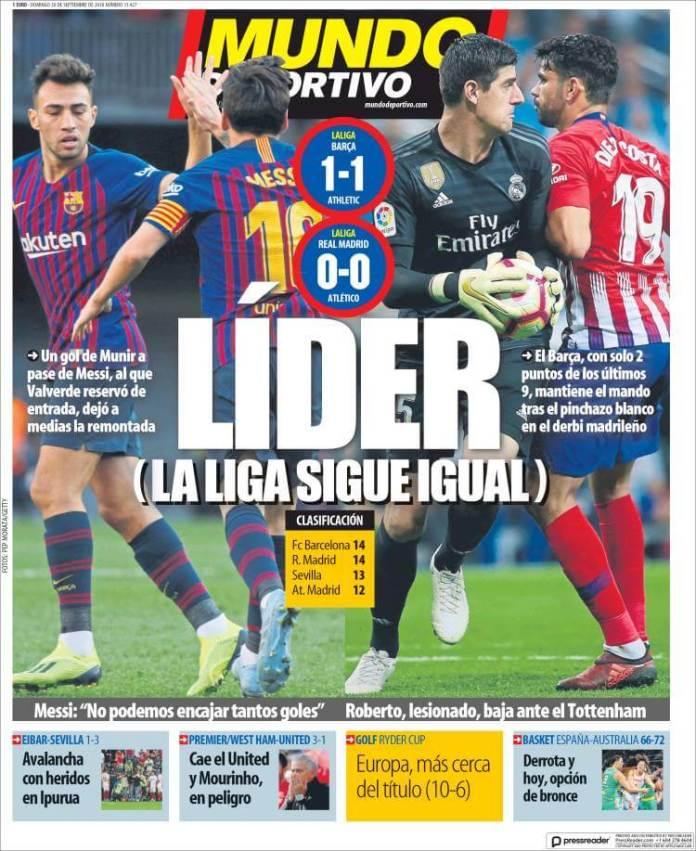 Portada prensa deportiva, diario Mundo Deportivo