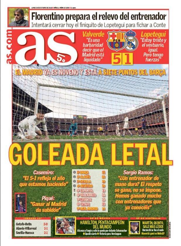 Portada as 29/10/2018 | El Clásico Barça 5-1 Madrird