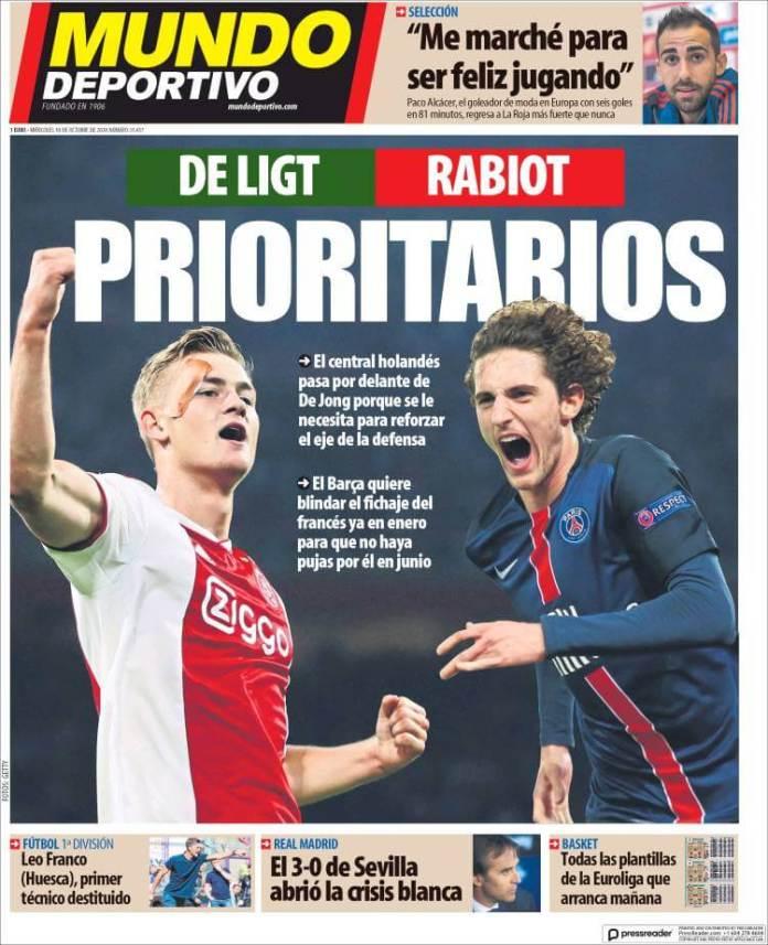 Portadas Mundo Deportivo 10/10/2018