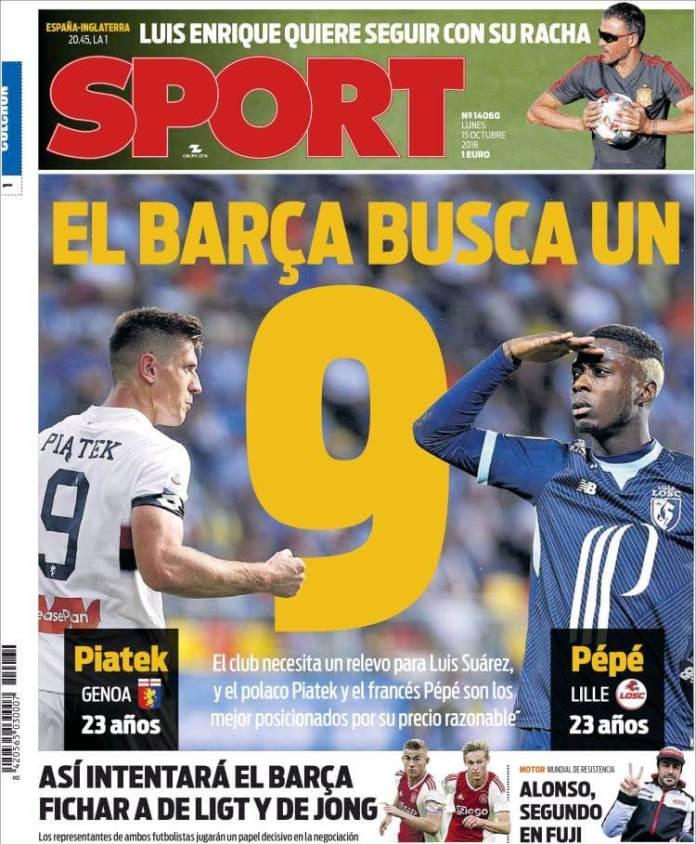Portada Sport 15/10/2018
