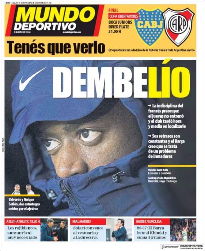 Portada Mundo Deportivo Boca-River Final Libertadores
