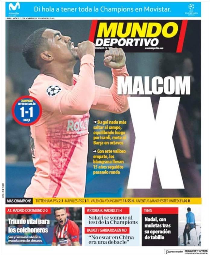 Portada Mundo Deportivo 7/11/2018