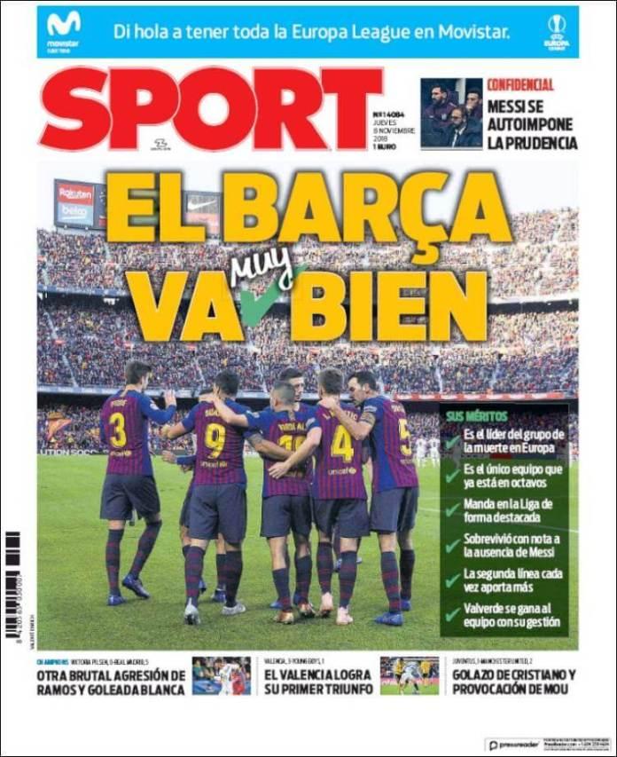 Portada Sport 8/11/2018