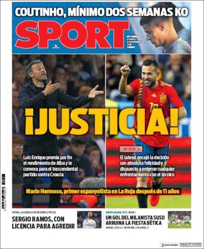 Portada Sport 9/11/2018