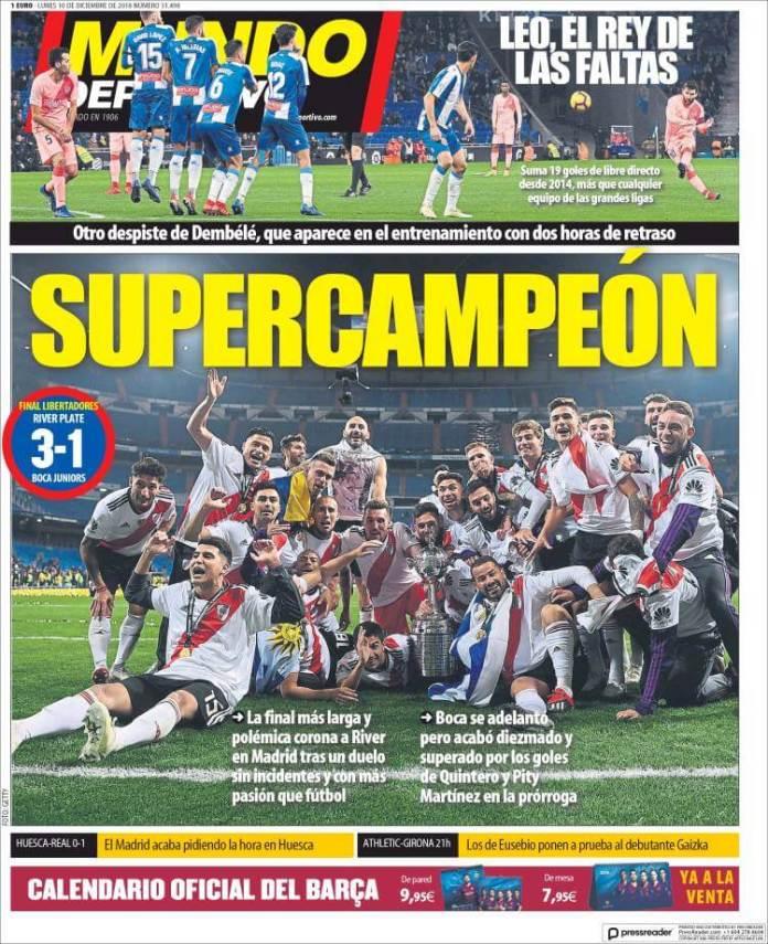 Portada Mundo Deportivo River Campeón Libertadores en el Bernabéu