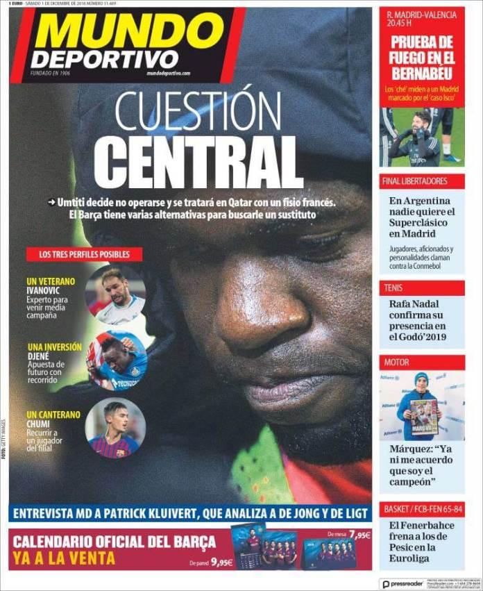 Portada Mundo Deportivo 1/12/2018