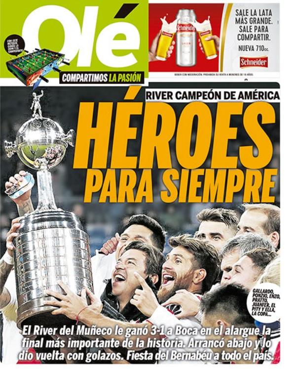 Portada Olé River Campeón Libertadores 2018 en el Bernabéu