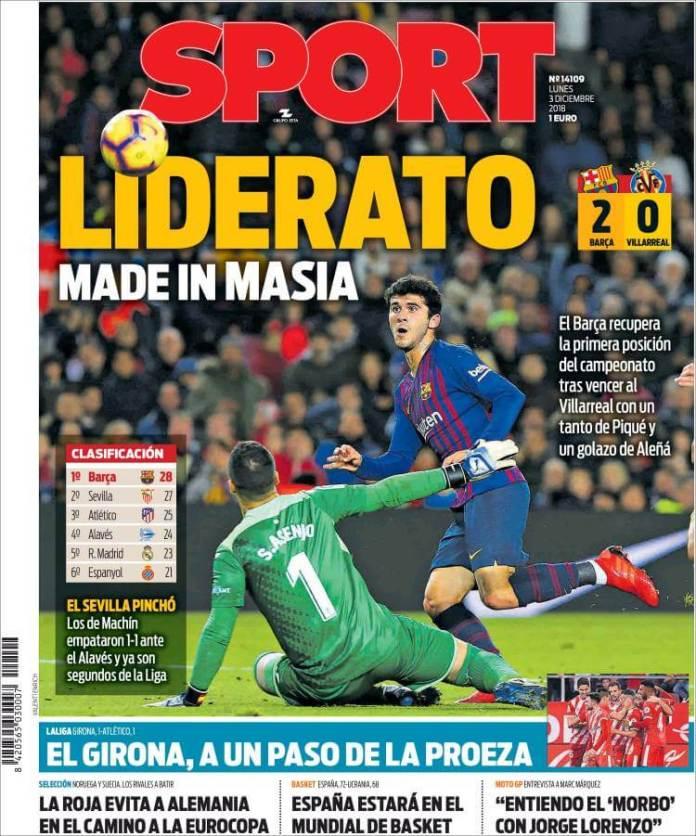 Portada Sport 3/12/2018