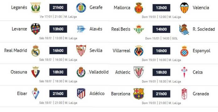 Partidos Jornada 20 Liga Española 2020