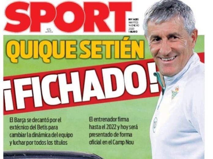 Portadas Diarios Deportivos Martes 14/01/2020