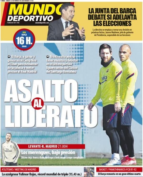 Portadas Diarios Deportivos Sábado 22/02/2020   Marca, As, Sport, Mundo Deportivo