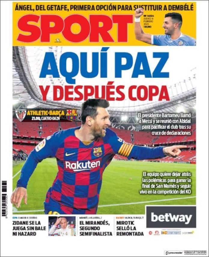 Portada diario Sport 6 de febrero de 2020