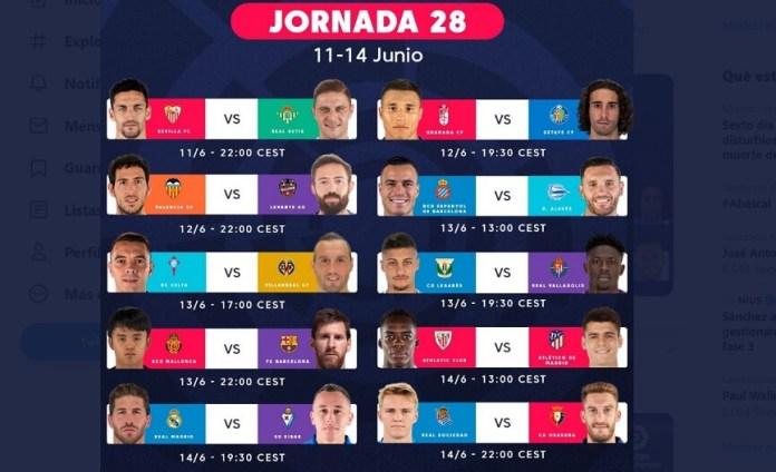 Partidos Jornada 28 Liga Española 2020