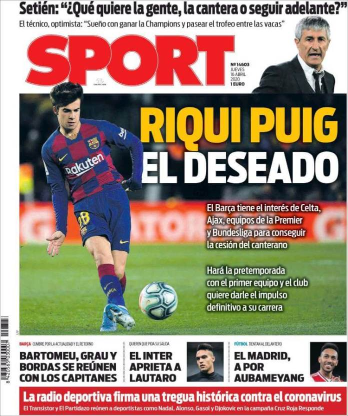 Portadas Diarios Deportivos Jueves 16/04/2020