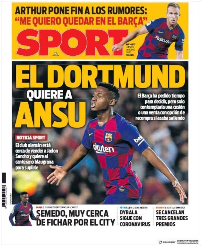 Portadas Diarios Deportivos Jueves 30/04/2020