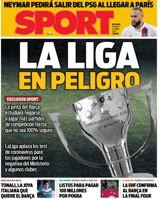 Portadas Diarios Deportivos Sábado 25/04/2020