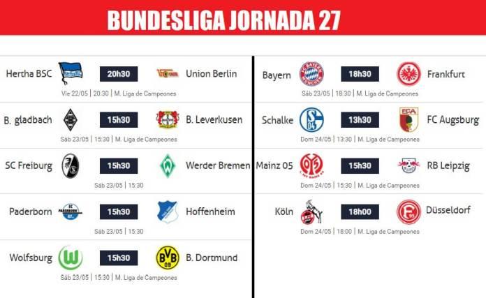 Bundesliga Partidos Jornada 27 | Horarios y Clasificación