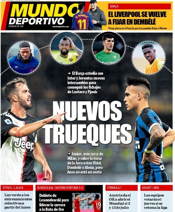 Portadas Diarios Deportivos Domingo 31/05/2020