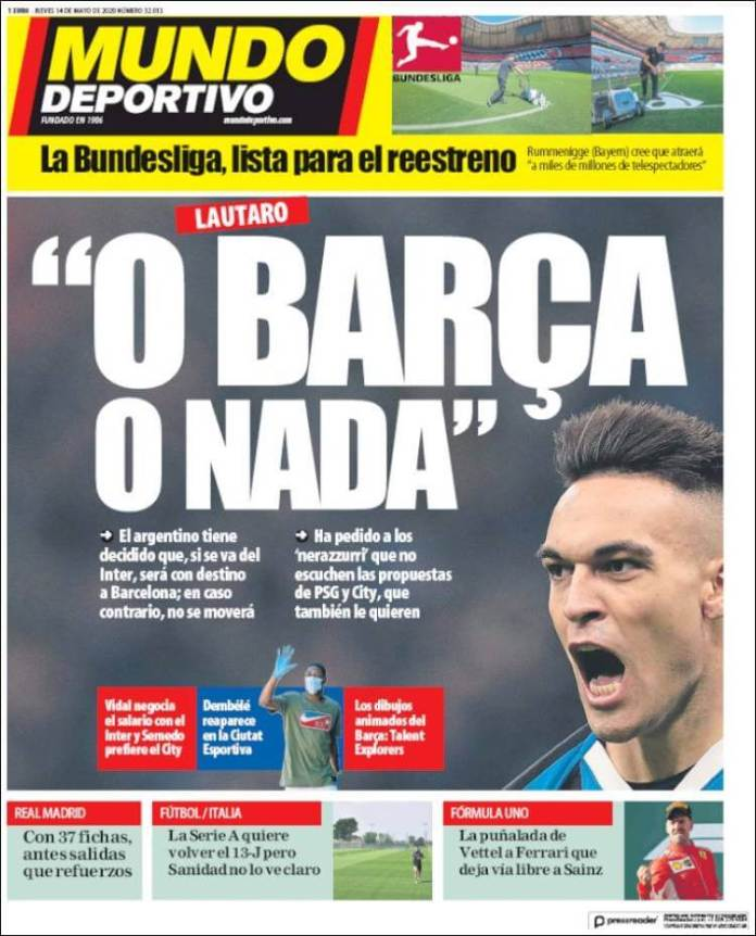 Portadas Diarios Deportivos Jueves 14/05/2020