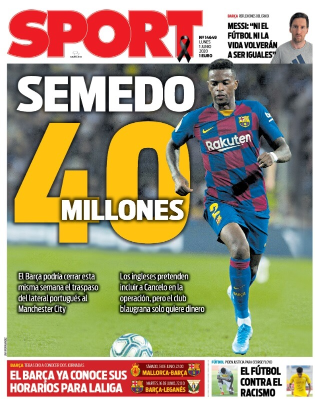Portadas Diarios Deportivos Lunes 1/06/2020