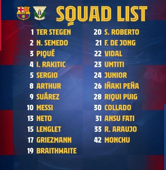 Los 23 Convocados para el Barça-Lganés