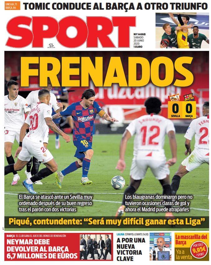 Portadas Diarios Deportivos Sábado 20/06/2020