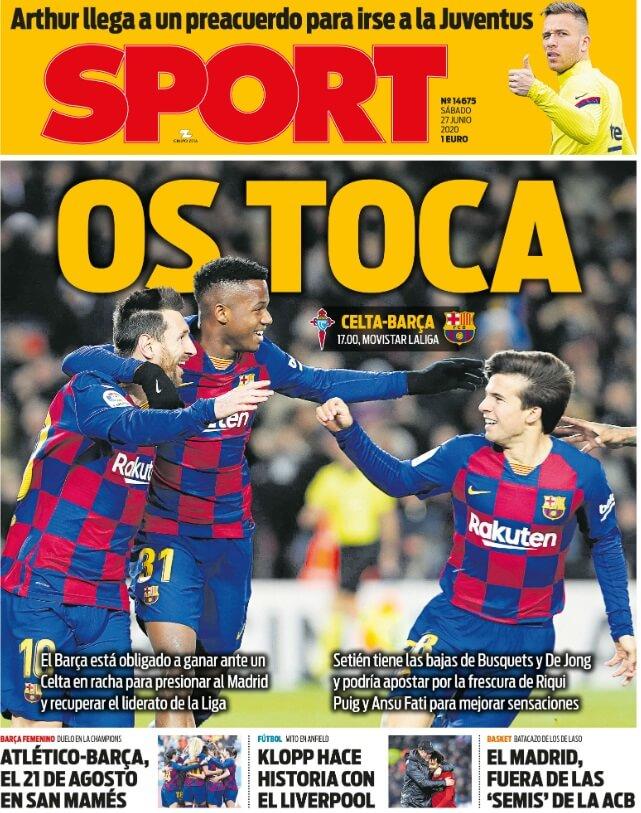 Portadas Diarios Deportivos Sábado 27/06/2020
