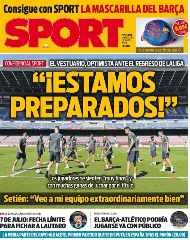 Portadas Diarios Deportivos Miércoles 10/06/2020