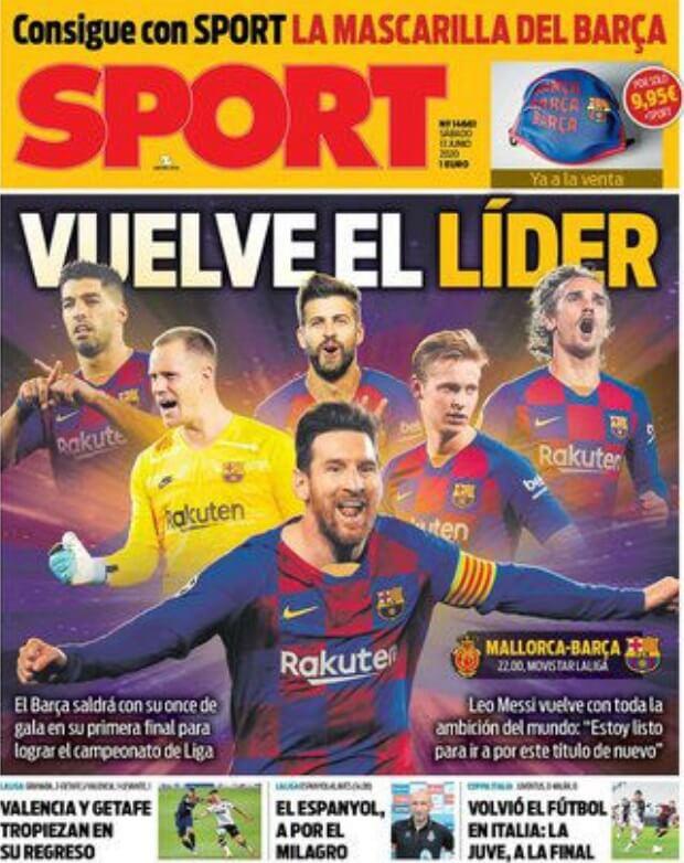 Portadas Diarios Deportivos Sábado 13/06/2020