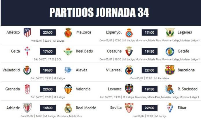 Partidos Jornada 34 Liga Española 2020