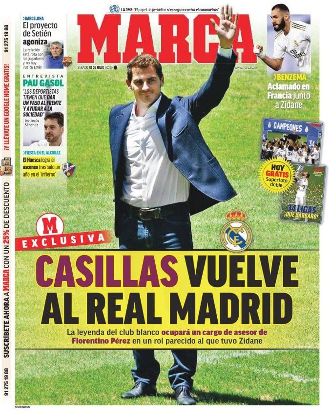 Portadas Diarios Deportivos Sábado 18/07/2020