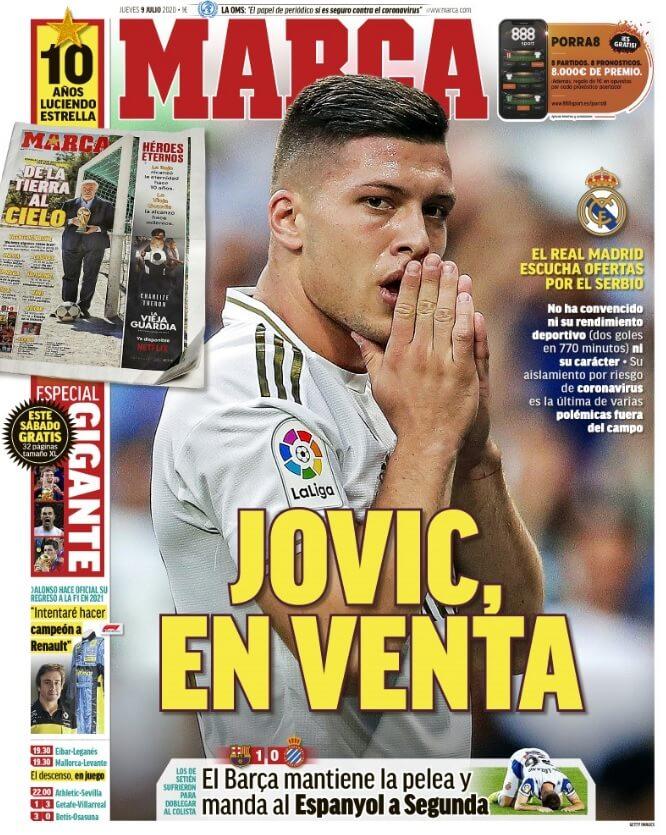 Portadas Diarios Deportivos Jueves 9/07/2020