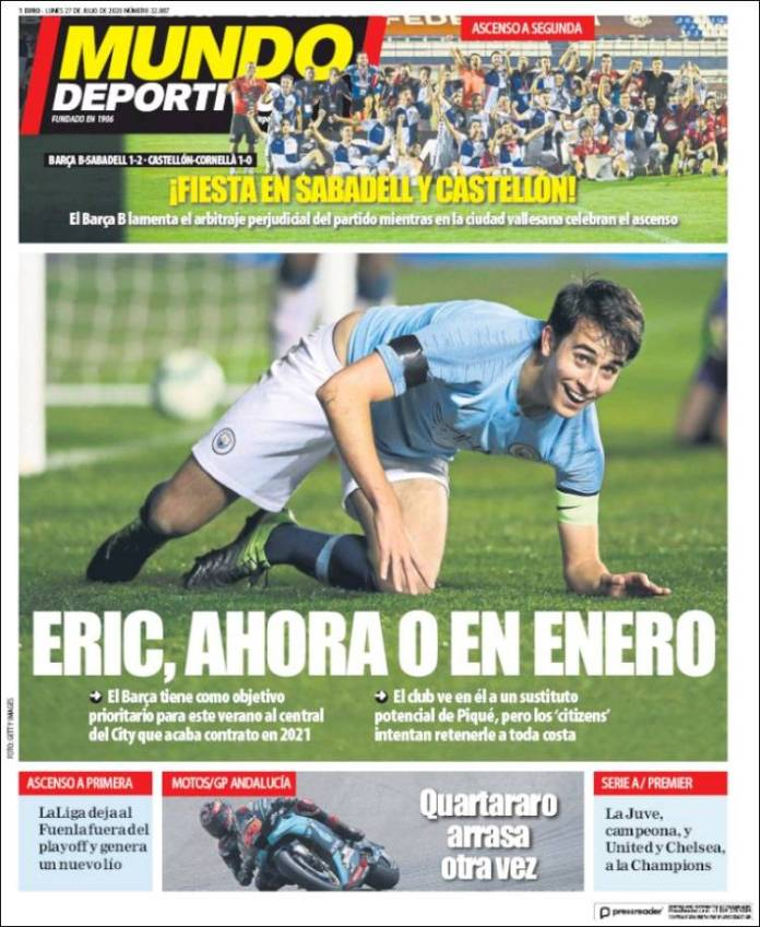 Portadas Diarios Deportivos Lunes 27/07/2020