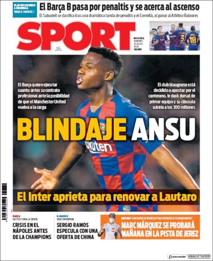 Portadas Diarios Deportivos Viernes 24/07/2020
