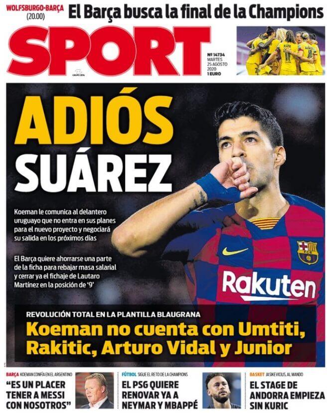 Portadas Diarios Deportivos Martes 25/08/2020