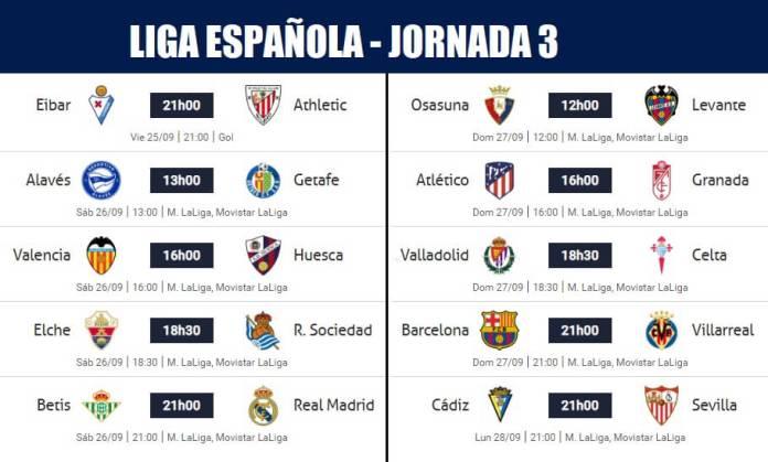 Partidos Jornada 3 Liga Española 2020