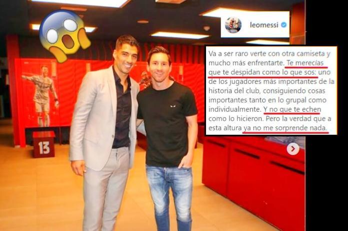 Messi estalla por la partida de Suárez: