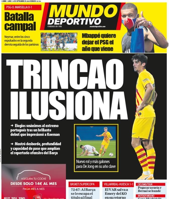 Portadas Diarios Deportivos Lunes 14/09/2020