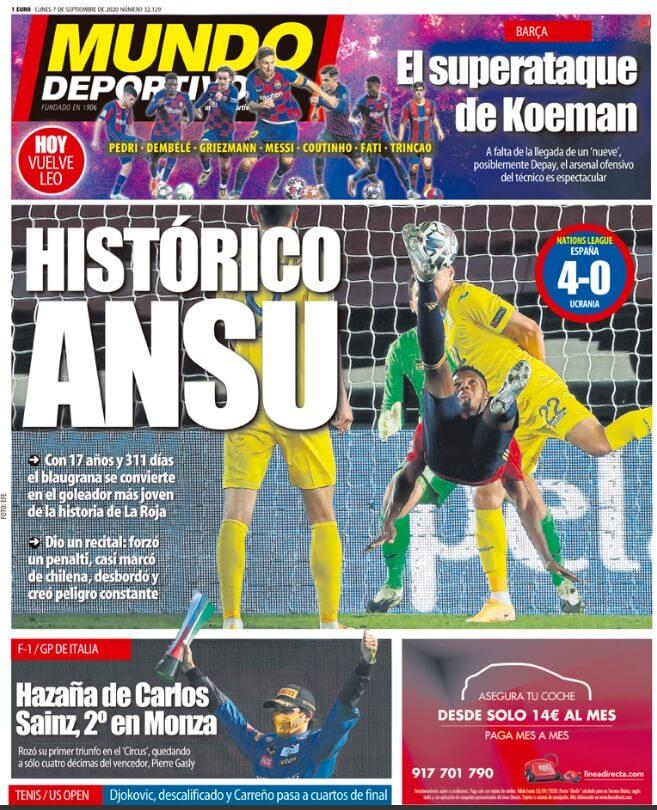 Portadas Diarios Deportivos Lunes 7/09/2020