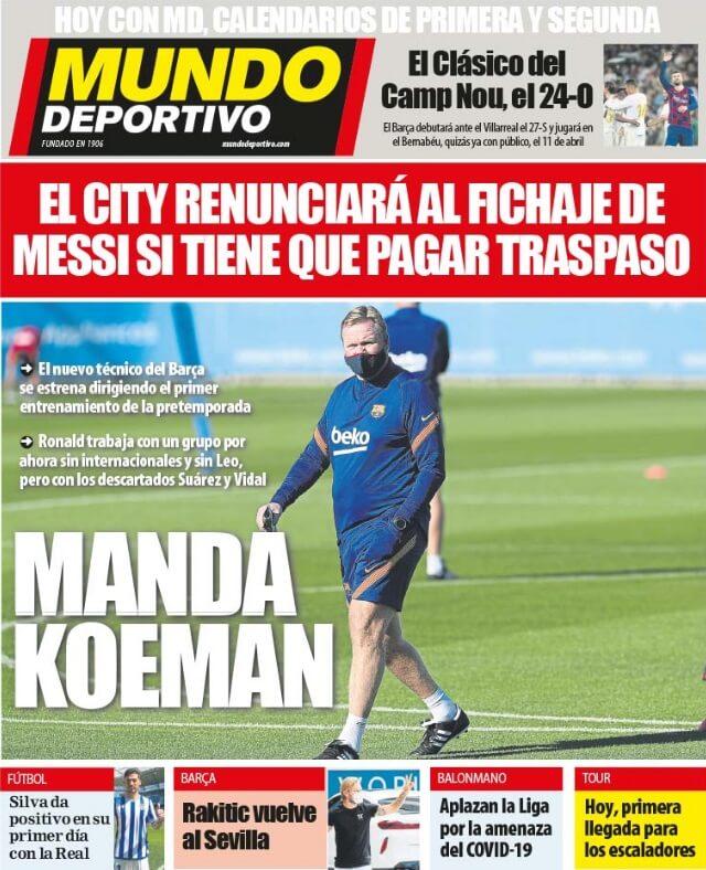 Portadas Diarios Deportivos Martes 1/09/2020