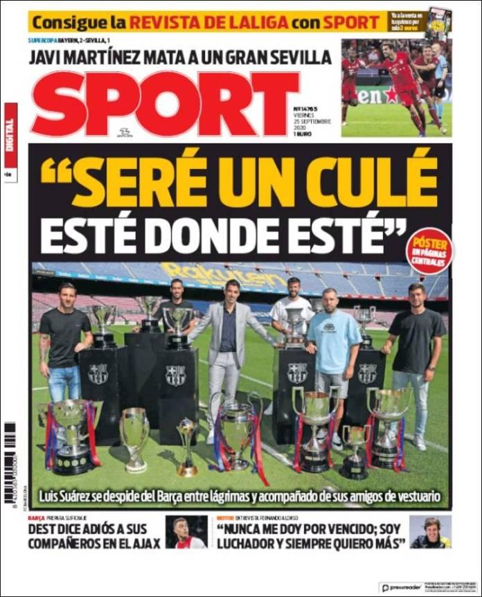 Portadas Diarios Deportivos Viernes 25/09/2020