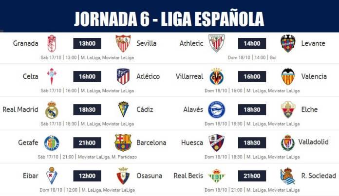 Partidos Jornada 6 Liga Española 2020