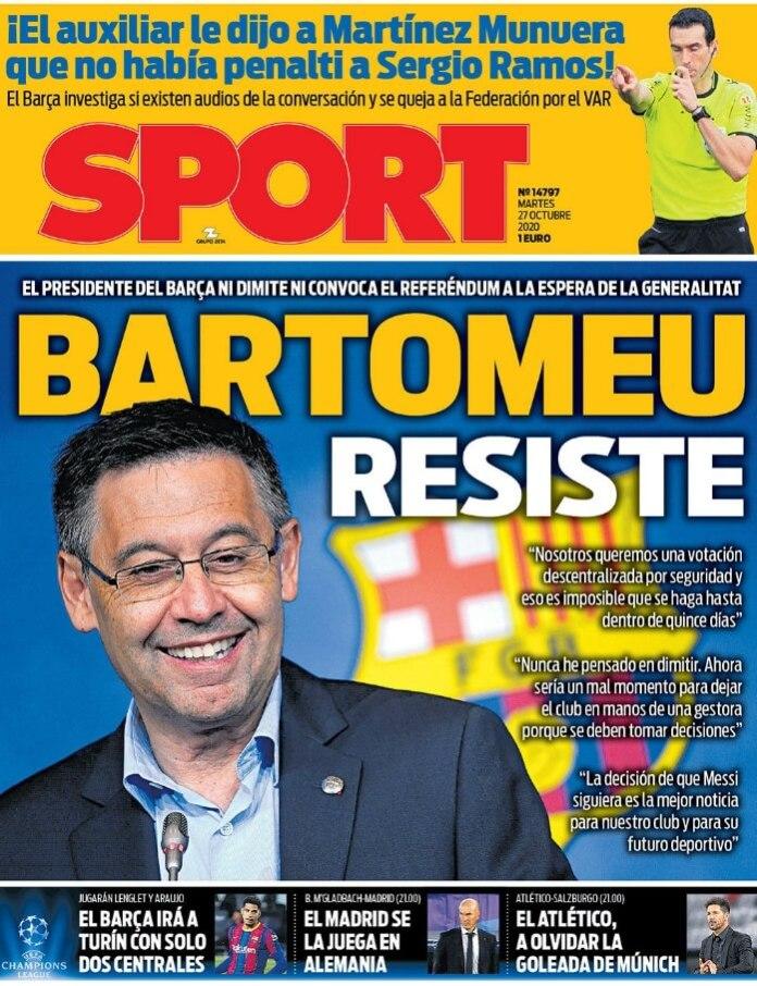 Portadas Diarios Deportivos Martes 27/10/2020